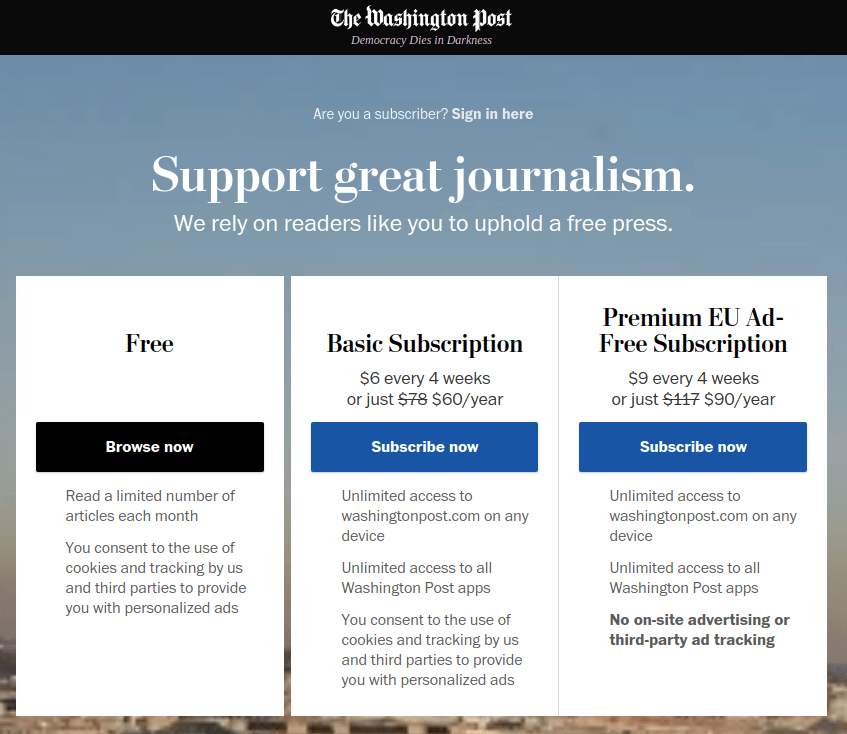 WaPo homepage in EU